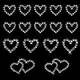 Oblique Unique® 16 Stück Herz Sticker Strass Steine zum Verzieren oder Aufkleben (Silber)