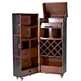 Retro-Koffer-Bar mit separatem Tablett - Esche; Kunstleder; Messing - braun - 150 x 63 x 60 - Hemingway - BUTLERS
