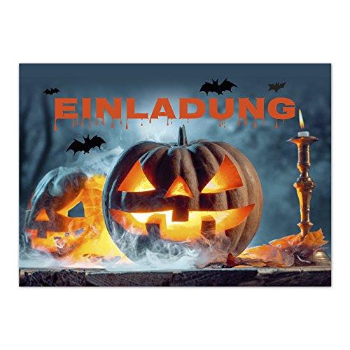 16 Halloween Einladungen - Kürbis im Nebel - Tolle Einladungskarten für die Halloween-Party für Kinder und Erwachsene