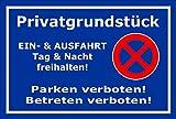Schild - Parken verboten - Privat-grundstück - Ein- und Ausfahrt frei-halten - 30x20cm mit Bohrlöchern | stabile 3mm starke Aluminiumverbundplatte – S00020L-E +++ in 20 Varianten erhältlich