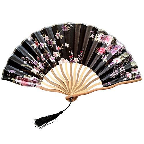 TianranRT Chinesisch Stil Hand Halten Fan Bambus Papier Falten Fan Party Hochzeit Dekor (A) (Oder Japanisch Chinesisch Mädchen)