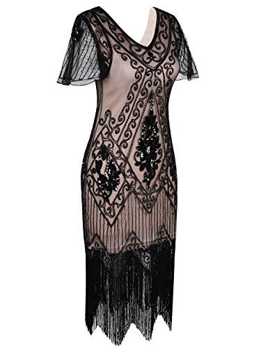 PrettyGuide Damen 1920er Charleston Kleid Pailetten Cocktail Flapper Kleid Mit Ärmel,  Medium, Schwarz Beige - 2