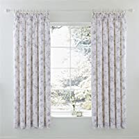 "Trailing Floral Butterflies Grey Lined 66"" X 72"" - 168cm X 183cm Pencil Pleat Curtains from Curtains"