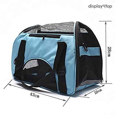 Display4top 43cm x 20cm x 28cm Pet Travel Carrier Comfort Expandable Foldable Travel bag for Dogs and Cats (Pale blue) from Display4top