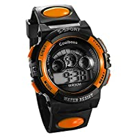 JewelryWe Multi-function Digital Sports Wrist Watches for Ages 6-18 Kids Boy Girl with Black Orange