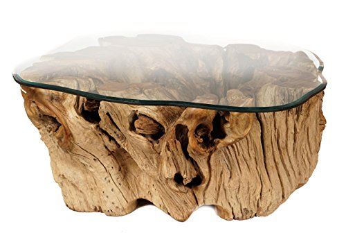 Mesa de Madera de tronco de árbol y cubierta de cristal