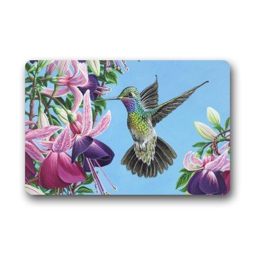 Arte Pintura pájaro colibrí comer flores Floral antideslizante Felpudo, alfombra Felpudo alfombra para interiores/exteriores/puerta delantera/dormitorio Mats 23,6(L) X 15,7(W) pulgada