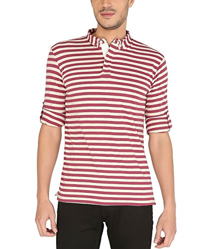 Nick&Jess Mens Multi Striped Full Sleeve Polo T-Shirt  available at amazon for Rs.234