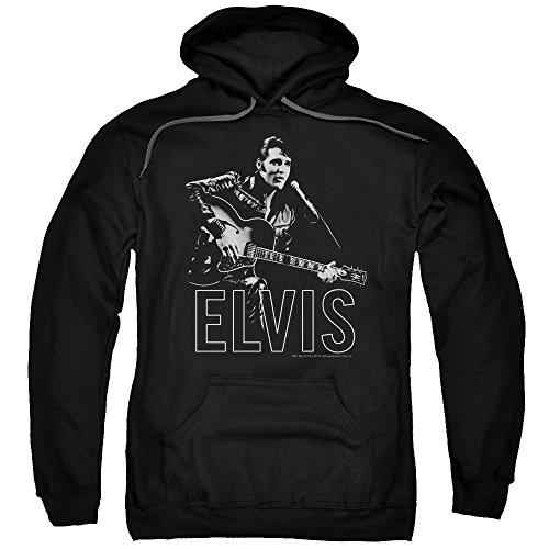 Elvis Presley Kapuzenpullover Gitarre in Hand für Erwachsene - Schwarz - XXX-Large - Elvis Hoodie