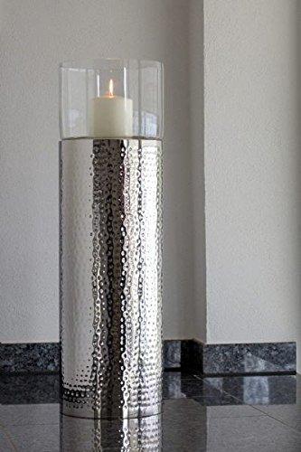 Boden-Windlicht Groß, Gesamt-H: 79,0cm, Metall-H: 61,0cm, D 24,0cm Edelstahl