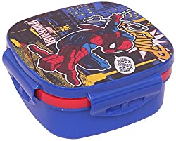 Marvel Spider Man Plastic Lunch Box Set, 3-Pieces, Multicolour (HMRPLB 00731-SPM)