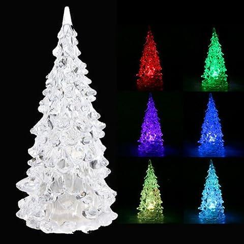Bluelover Crystal Led Weihnachten Weihnachtsbaum 7 Farben Wechselnde Nachtlicht