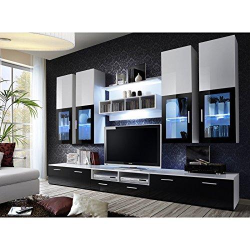 ASM Gros mobilier Ensemble Meuble TV Mural - Lyra - 300 cm x 190 cm x 45 cm - Blanc et Noir