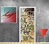 Art Déco Stickers - Papier peint porte déco - tag graffiti Dimensions - 83x204cm