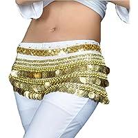 YuanDian Mujer Monedas Lentejuelas Profesional Danza del Vientre Cinturon Falda Pañuelo Scarf Trajes De Belly Dance
