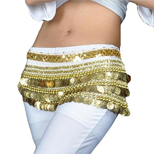 YuanDian Mujer Monedas Lentejuelas Profesional Danza Del Vientre Cinturon Falda Pañuelo Scarf Trajes De Belly Dance Blanco+Dorado Moneda