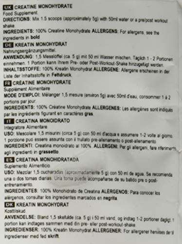 BULK POWDERS Kreatin Monohydrat Pulver, geschmacksneutral, 1 kg