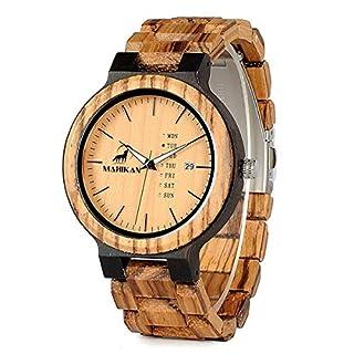 Mahikan – Armbanduhr aus Zebraholz und Ebenholz für Herren, Modell Apache, mit Armband aus Holz, handgefertigt, 100% natürlich, analoge Anzeige der Uhrzeit – Anzeige von Datum und Tag