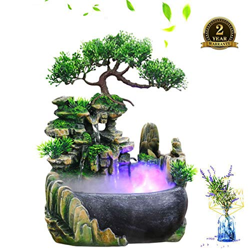 Zimmerbrunnen Wasserfall aus Polyresin, IN-&Outdoor Beleuchteter Wasserbrunnen mit LED Lich und Pumpe, Luftbefeuchter Tischlerbrunnen Kleiner Steingarten Zen Meditation Waterfall Desk Decoration