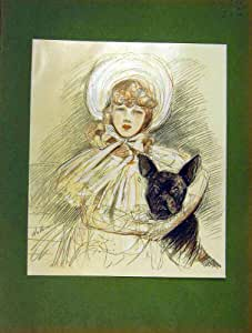 Stampa 1904 di helleu della matita della ragazza del cane for Schizzo di piani di casa gratuiti