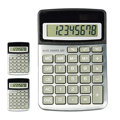 3x Taschenrechner OFFICE, große Tasten, 8-stelliges Display, Dual Power, Financial Calculator, schwarz/silber - Anzeige Große 8-stellige Taschenrechner