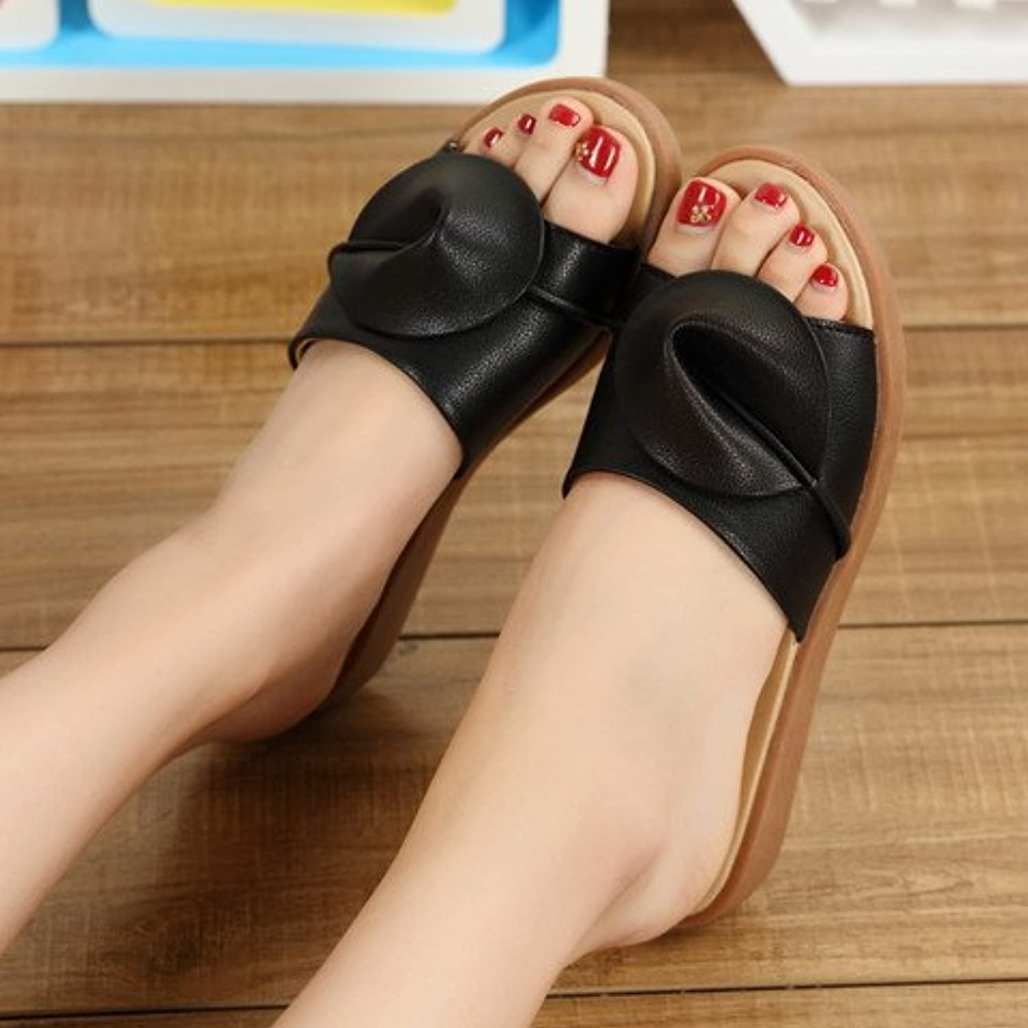 fankou Flat Bottom Cool Summer Sandals Fashion Sandals Female Stylish Outdoor Cool Slippers,37, Black