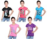 #5: IndiWeaves Girls Cotton Half Sleeves Round Neck Printed T-Shirts(Pack of 5)