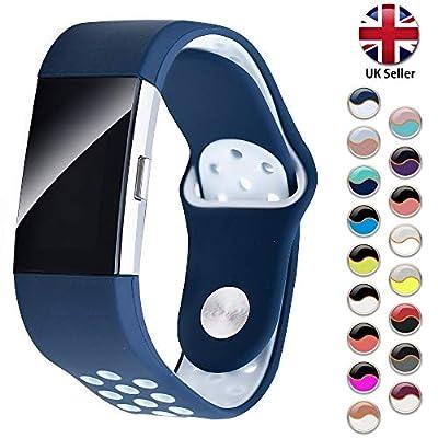 STAY Active Correas de Recambio para Fitbit Charge 2, Reloj Inteligente y Deportivo para Mujer y Hombre | Marca del Reino Unido Correa Milanesa, Diamante de Silicona y Deportiva