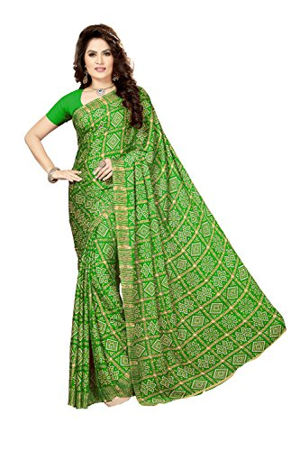 Rani Saahiba Crepe Georgette Gharchola Printed Bandhej Saree ( SKR3609_Light Green )
