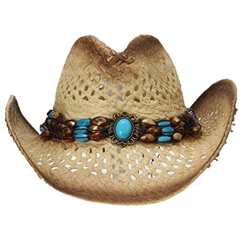 DEMU Herren Damen Cowboyhut Strohhut Westernhut Hut mit Hutband Türkis Sonnenhut Sommer Cap