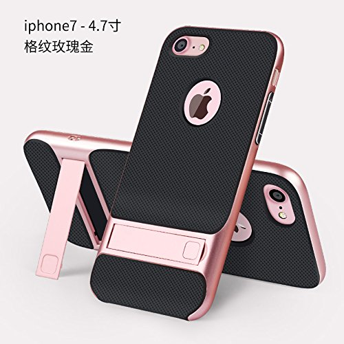 BCIT iPhone 7 Plus Custodia - ibrida Morbido resistente agli urti + Bumper Frame Dual Layer Case con Supporto di protezione per iPhone 7 Plus - Nero Rose Oro