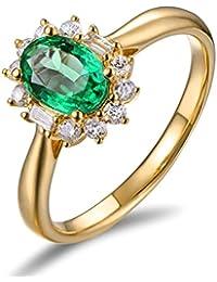 Epinki 18k Oro Anillos para Mujer óvalo Flores Anillo de Diamante Anillos Mujer con Blanco Verde