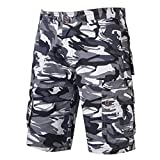 GreatestPAK Pants Cargo-Shorts der Tarnung-Männer beiläufige im Freien Taschen-Strand-Arbeits-Hosen-Hose,Grau,29