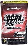 IronMaxx BCAA 4:1:1 – Hochkonzentrierte Aminosäuren für Muskelaufbau und Muskelerhalt – Vitamin B6 – Wenig Kohlenhydrate & Zucker – Himbeer-Geschmack – BCAA Pulver – 550g Beutel