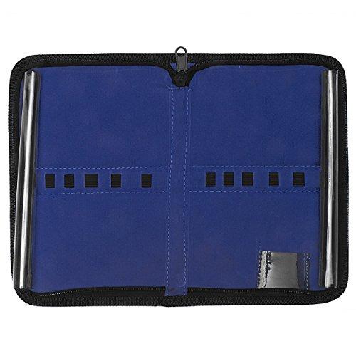 Etui aus schwarzem Kunstleder - innen mit blauem Samtbezug - für bis zu 12 Instrumente - leer