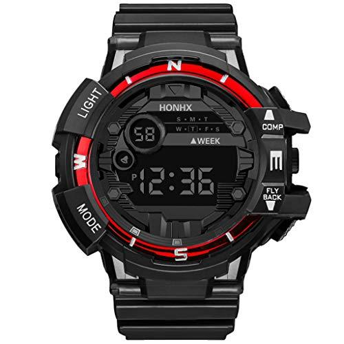 Plot Herren Damen Digital Sport Uhren - Outdoor wasserdichte Armbanduhr mit Wecker Chronograph und Countdown Uhr, LED Licht Gummi Schwarz große Anzeige Digitaluhren Unisex (red)