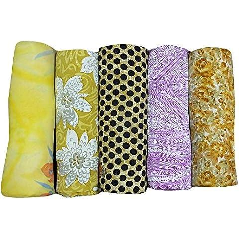 annata indian saree lot 5 arte della seta tessuto tenda drappo multicolore stampato casa arredamento all'ingrosso sarong bollywood sari 5YD - Arte Seta Tende