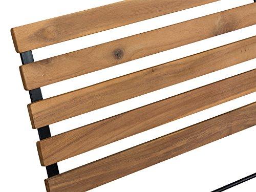 Massivum Sitzbank Seattle Akazie/Metall, schwarz / natur, 59 x 117 x 17, 10024123 - 4