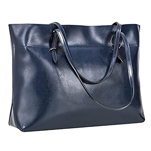 S-ZONE Women's Vintage Genuine Leather Tote Shoulder Bag Handbag (Blue)
