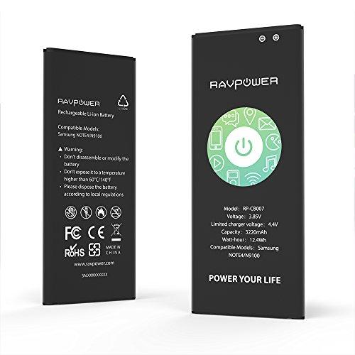 RAVPower Batterie de Samsung Galaxy Note 4 Batterie de remplacement 3220 mAh avec NFC (48 heures de veille, Jusqu'à 500 cycles de charge, Protections Surchauffe, Surcharge, CE et RoHS)
