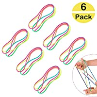 BluVast Finger String Game 6PCS String Hand Game Full Color Rope Toy Skill Game Cat Cradle String