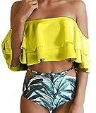 Kfnire Costumi da bagno per donna, costume da bagno bikini con volant arricciato floreale (S, giallo)