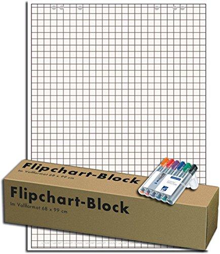 Landre 100050592 Flip-Chart-Blöcke, Vollformat 68 x 99 cm, 20 Blatt, 80 g/qm, 5 Stück (Holzfreies Papier, Gerollt, inkl. 6 Marker)