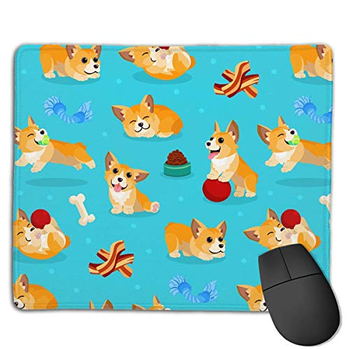 (Mouse Pad Cute Corgi Dog Illustration Rectangle Rubber Mousepad 8.66 X 7.09 Inch Gaming Mouse Pad with Black Lock Edge)