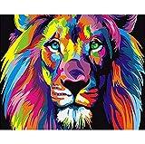 DIY Peinture numérique, Peinture Numéro Adulte peint à la main Peinture murale Animal Chiffon Peinture Salon Décoration Peinture. 40 * 50 cm Frameless lion