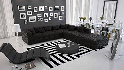 Riesige Wohn-Landschaft mit Microfaser 320x330 cm L-Form schwarz | Vavi | Designer Couch-Garnitur im XXL Format Ottomane rechts | Polster-Ecke für Wohnzimmer schwarz 320cm x 330cm