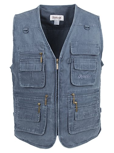 LUSI MADAM Herren Stone Washed Denim Multi-Taschened Fishing Weste EU 4XL/Asia 7XL Blau (Multi Blue Kleid)