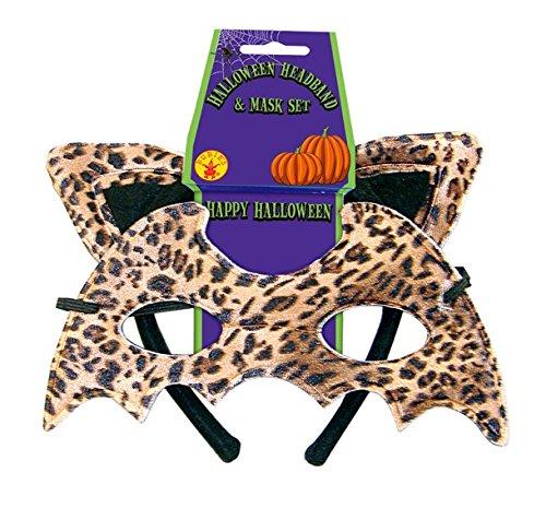 Kostüm Leopard 2er Set Haarreif und Maske Fasching Karneval Halloween (Masken Raubtiere)