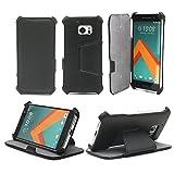 Ultra Slim Tasche Leder Style HTC 10 4G 2006 Hülle Schwarz Cover mit Stand - Zubehör Etui HTC ONE M10 Dual SIM Flip Case Schutzhülle (PU Leder, Schwarz) - XEPTIO accessoires 2015