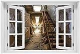 Wallario Acrylglasbild mit Fenster-Illusion: Motiv Leuchtender Gang in altem verlassenen Gefängnis - 60 x 90 cm mit Fensterrahmen in Premium-Qualität: Brillante Farben, freischwebende Optik